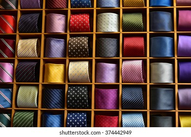 colorful display of silk ties cravat