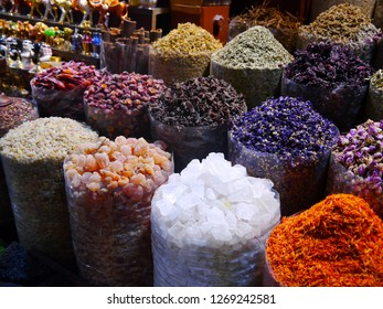 colorful display with spices and frankincense, Gold Souk (bazaar) in the old town of Dubai, United Arab Emirates, Middle East