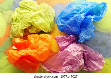 Colorful disposable plastic bags