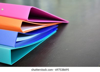 Colorful document file a stack on the desk.