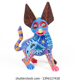 Colorful dog alebrije wood carving sculpture mexican folk art decor