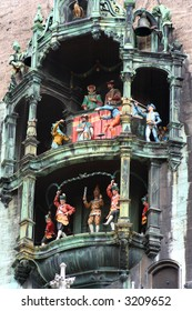 The colorful dolls dancing in the clock of the new town hall building of Marienplatz in Munich, Germany.