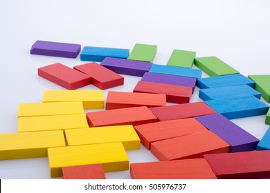 Colorful Domino Blocks on a white background
