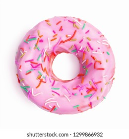 Colorful donut decorated with sprinkles isolated on white background. Flat lay. Top view