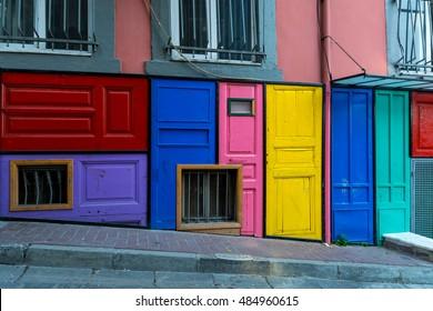 Colorful doors in Balat, Fener, Istanbul