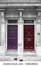 Colorful doors, part of a house in London, England