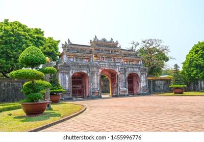 Colorful doorway Forbidden Citadel in Hue, Vietnam.