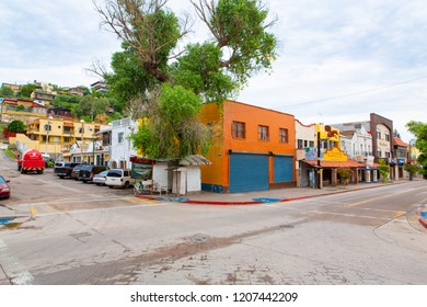 Colorful downtown in Nogales, Sonora State in Mexico, 08-23-2018