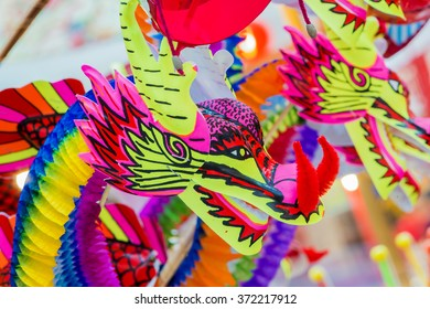 colorful dragon plastic and paper toy for chinese new year happy and goodluck