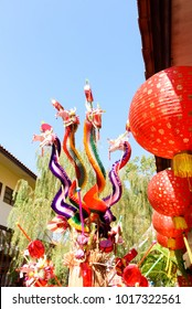 Colorful dragon toys for children in China new year festival.