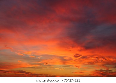 Colorful, dramatic sky after sunset. Beautiful sky.