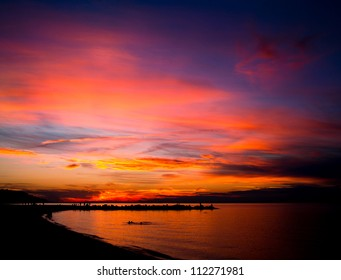 Colorful dramatic sunset at Sunken Meadow Park Long Island New York