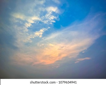 Colorful dramatic twilight sky in evening with cloud at sunset.Nice Clear Nature Blue Sky with sun background.