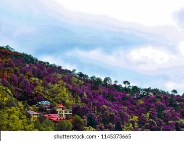 colorful and dramtic image of Kasauli, northern India painting filter used.