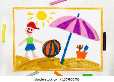 Colorful drawing: beach vacation. Smiling boy with colorful ball and sun umbrella