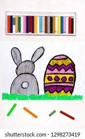 Colorful drawing: Beautiful Easter card with easter eggs and cute bunny