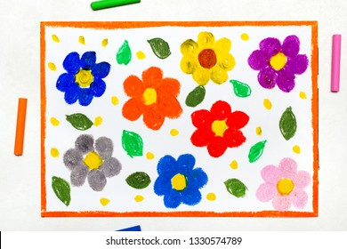 Colorful drawing : beautiful spring flowers