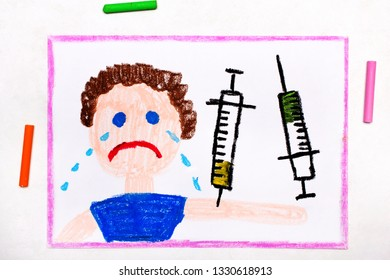 Colorful drawing: Child vaccination. Crying boy and syringe. Protective vaccination