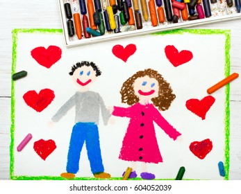 Colorful drawing: couple in love