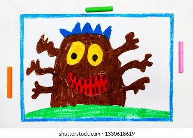 Colorful drawing: Cute brown monster with six hands