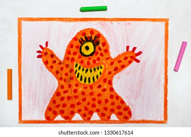 Colorful drawing: Cute orange monster with one eye