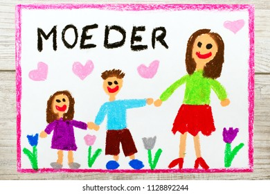 Colorful drawing -  Dutch Mother's Day card with word: Mother