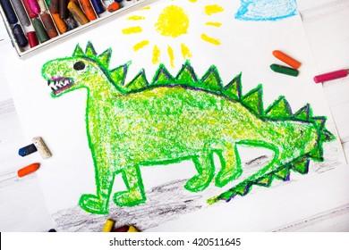 colorful  drawing: green dragon