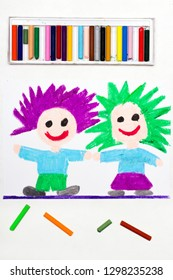 Colorful drawing: Happy children with funny hair.