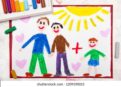 Colorful drawing: Happy gay parents and his adopted son. Two fathers and a child