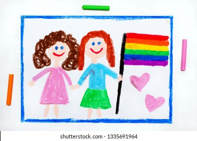 Colorful drawing: Happy lesbian couple with lgbt flag