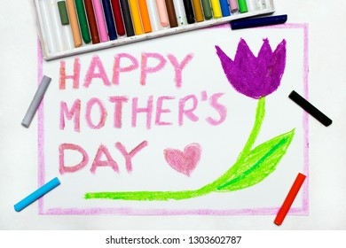 Colorful drawing: Happy Mother's Day card