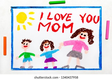 Colorful drawing: Happy Mother's Day card with word I LOVE YOU MOM
