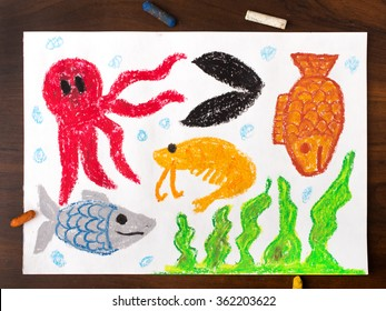 colorful drawing: miscellaneous types of creatures of the sea