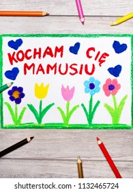 Colorful drawing - Polish Mother's Day card with words: I love You Mom