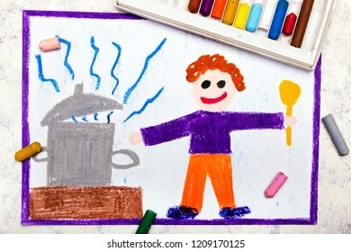 Colorful drawing: A smiling boy with a spoon in his hand cooks a meal in a large pot
