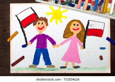 Colorful drawing: Smiling children, boy and girl, waving Polish flags. Polish patriotism. Independence Day in Poland