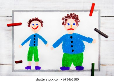 c300ad611cc08 Colorful drawing  Smiling slim boy and obese sad boy. Weight loss.