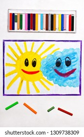 colorful drawing: Smiling sun and cloud