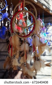 colorful dream catchers on a street market