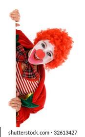 Colorful dressed female holiday clown, happy joyful expression on face. Studio shot.