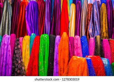 Colorful dresses in the Bazaar of Sulaymaniyah. Kurdistan, Iraq