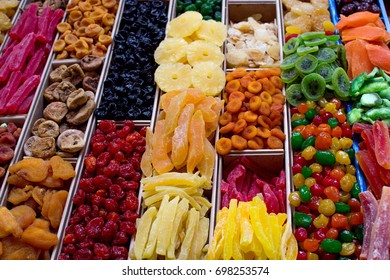 colorful dried fruit market