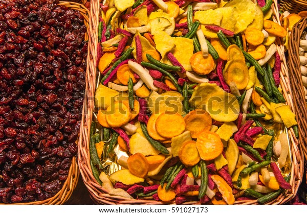 Colorful dried vegetables on market