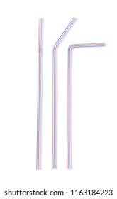 Colorful drinking straws isolated on white