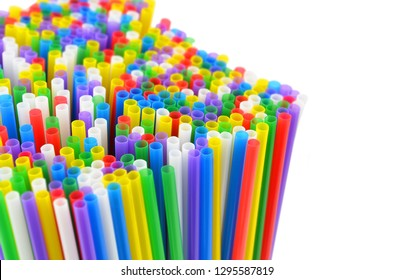 Colorful drinking straws, isolated on white background