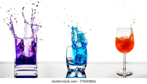 colorful drinks in glasses