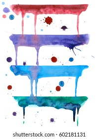 Colorful drips watercolor and spray paint on a white background.