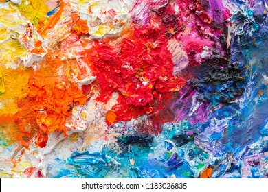 Colorful dry color palette close up background