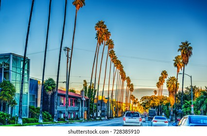 Colorful dusk on Sunset boulevard. Los Angeles, California
