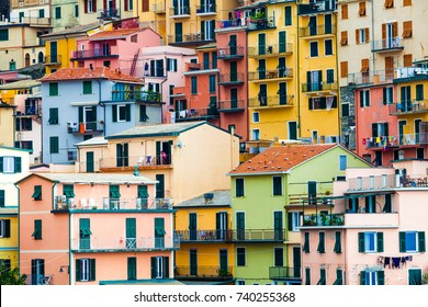 Colorful dwellings. Full background with colorful buildings. Manarola, Cinque Terre National Park, Italy.